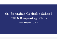 St. Barnabas School 2020 Reopening Plan