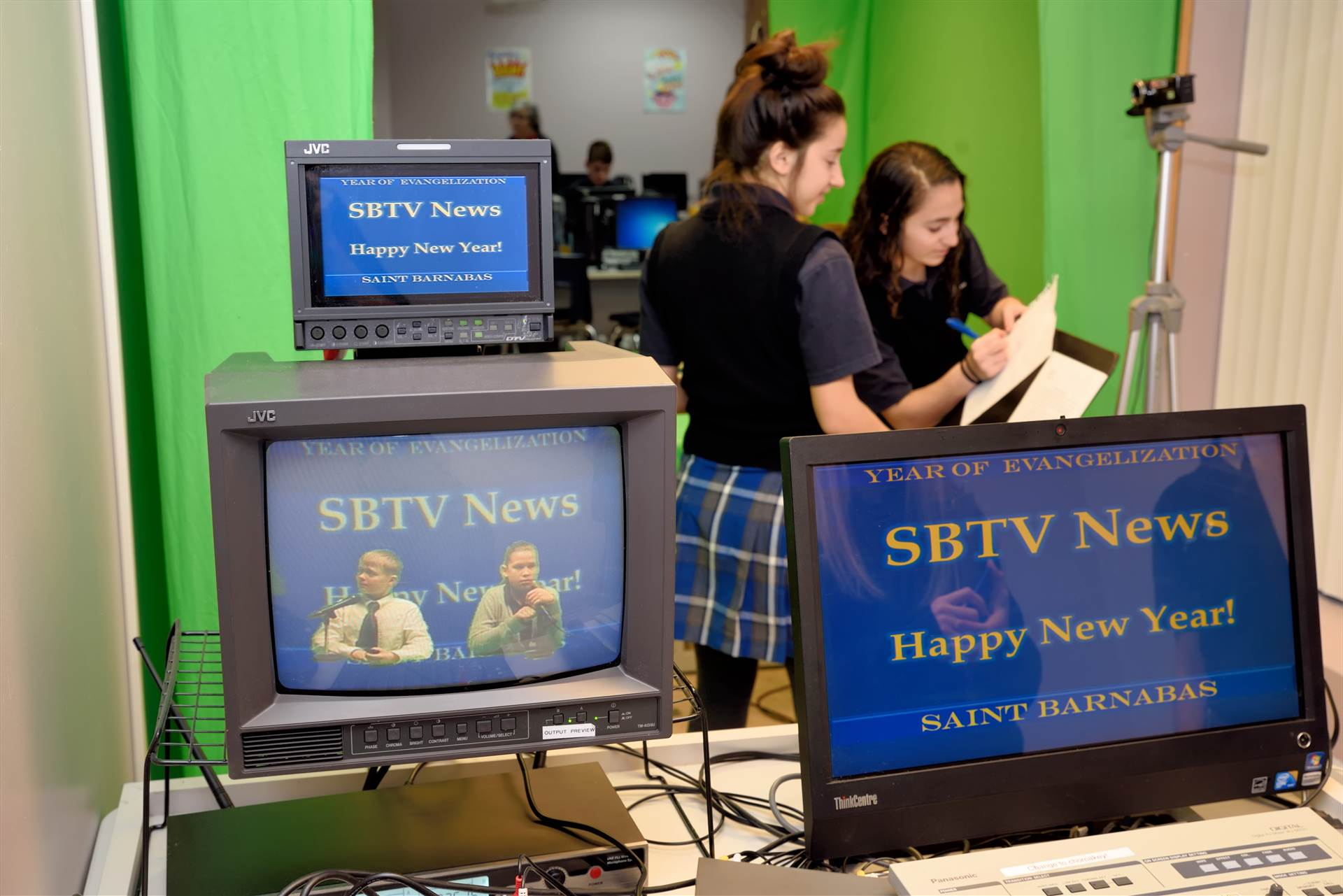 Students working SBTV equipment